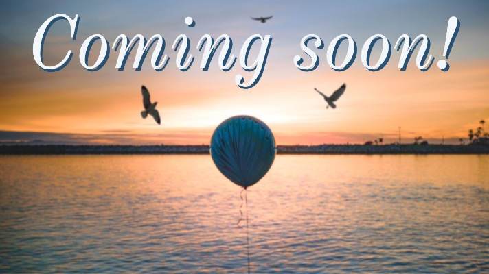 Comin soon with landscape, birds and balloon